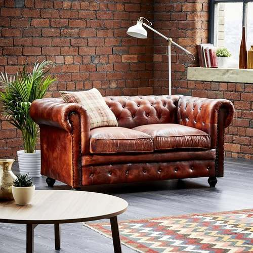 Leather Chesterfield 2 Seater Antique Chestnut Sofa