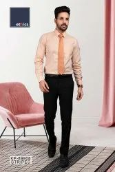 Orange Stripe Office Uniform Men's Unstitched Shirt And Pant