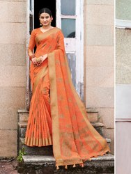Orange Banarasi Jute Linen Saree  With Blouse Piece