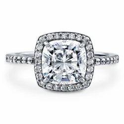 Cubic Zirconia Halo Silver Ring