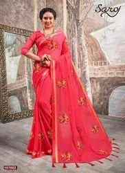 Pink Designer Chiffon Dyed Saree