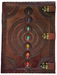 Handmade Leather Journal, 7 Stone Chakra Journal, Leather Diaries, Stone Journals, Lock Journals