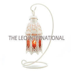 White Powder Coat Moroccan Lantern On Stand