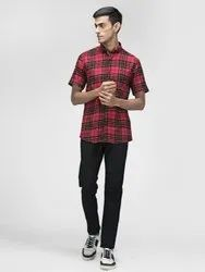 Check Red Half Sleeve Men Casual Cotton Twill Shirt