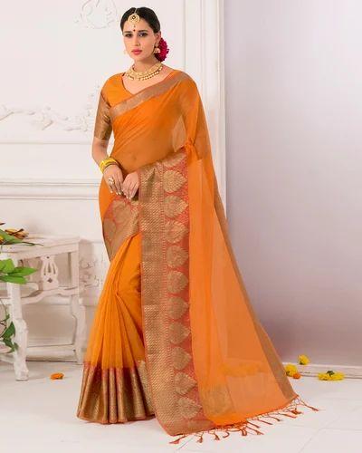 ae8b4dac4f749 Cotton And Silk Yellow Banarasi Saree