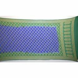 Green And Blue Shaded Banarasi Georgette Bandhani Dupatta