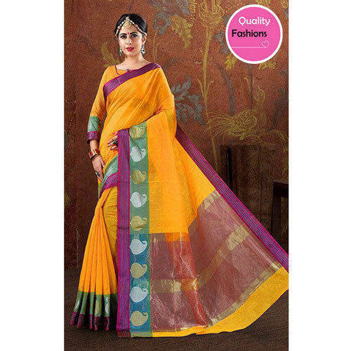 91ebd572ee Multi-color Cotton And Silk Yellow Saree, With Blouse Piece, Rs 849 ...