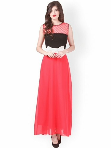PINK geeorgret Embroidered long gown party wear, Size: Which You Need