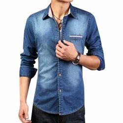 Blue Mens Denim Plain Shirts