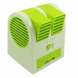 Dual Bladeless Mini Air Conditioner Water Air Cooler Powered by USB & Battery