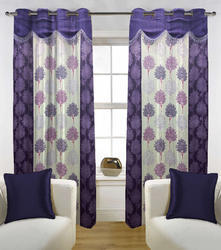 Purple-white Floral Fabutex Beautiful Purple With White Lace Door Curtain 4x7 Ft .