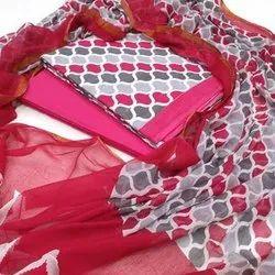 Multicolor Ladies Designer Cotton Suit Material