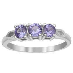 0.75 Ctw Tanzanite Three Stone 925 Sterling Silver Women Richfeel Ring