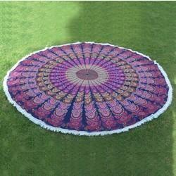 Indian Mandala Round Roundie Beach Throw Tapestry