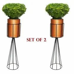 Ascent Homes Metal Stand with Round Corrugated Pot (Foldable) -Set Of 2