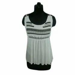 Cotton Party Wear Ladies White Sleeveless Top