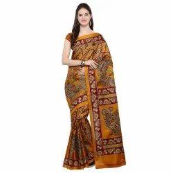 Yellow Colored Tussar Silk Kalamkari Print Saree