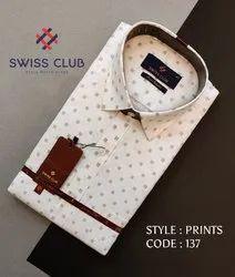 Swiss Club Men's Formal Classic Printed Shirt
