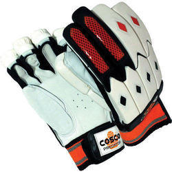 White, Black Leather Palm Cosco Cricket Batting Gloves