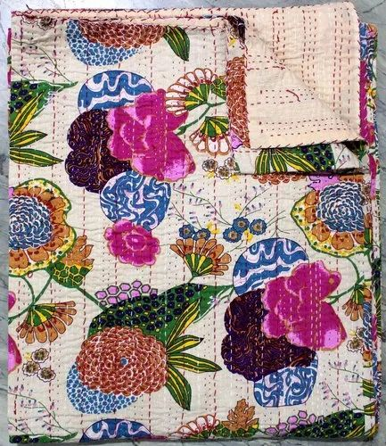 Jaipuri Kantha Fruit print Single Bedcover