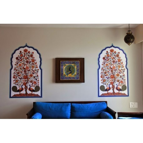 Rajasthani Artwork with Peacock Wall Mural White at Rs 1599