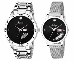 Jainx Black Dial Day & Date Analogue Couple Watch JC451
