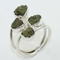 Moldavite Gemstone Sterling Silver 925 Ring Jewelry
