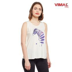 Vimal Graphic Printed Off White Tank Tops For Women