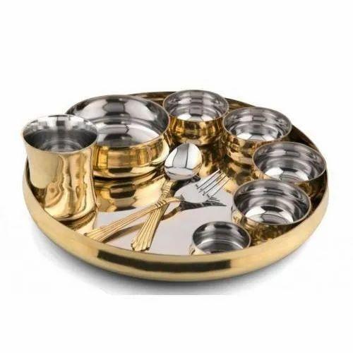 "Stainless Steel Thali Platter 13/"" with Plain Edges"