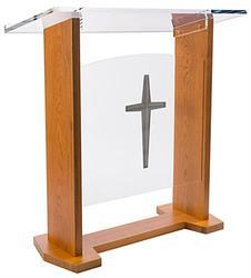 Wood & Acrylic Podium, Optional Cross & Plain Front Panel 46.5 Tall