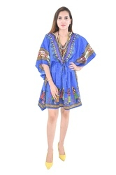 Blue Cotton Poncho Fashionable Kaftan