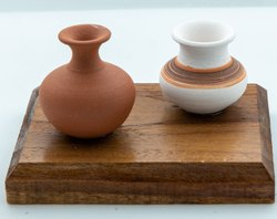 Brown Miniature Pot With Wooden Base