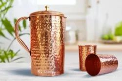 Round Copper Hammered Jug And Glass Set, Capacity: 2 Ltr, Size: 10 X 4 Inch (h X Dia)