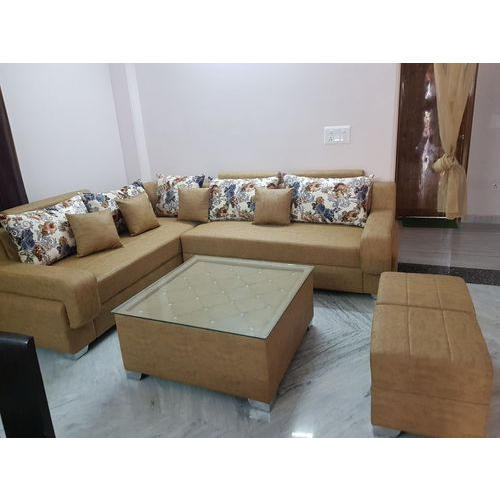 Leather L Shaped Sofa Set With Two Puffy