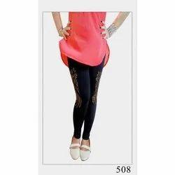 89cb581dc51 Straight Fit Printed Ladies Cotton Black Legging
