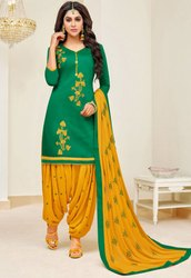 Emerald Green Slub Cotton Patiala Kameez