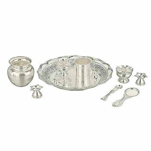 Silver Plated Pooja Thali Set  sc 1 st  IndiaMART & Silver Plated Pooja Thali Set Silver Plated Puja Thali - Silver ...
