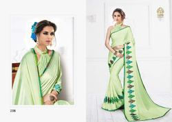Beautiful Green Fancy Silk Designer Saree