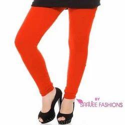 Orange Cotton Lycra Plain Legging