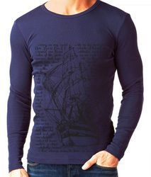 Men's Cotton Full Sleeves Printed T Shirt, Size: S-XL