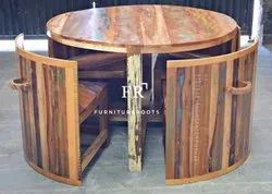 Compact Round Dining Set in Reclaimed Wood for Restaurants