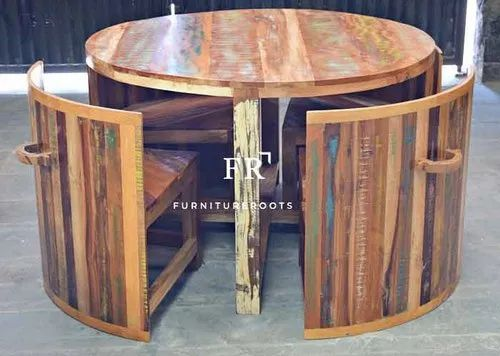 Compact Round Dining Set In Reclaimed Wood For Restaurants Hotel Furniture Restaurant Chair Table र स ट र ट फर न चर Furnitureroots A Brand Of Desert Furnish Design Hub Private Limited Jodhpur Id 20620277873