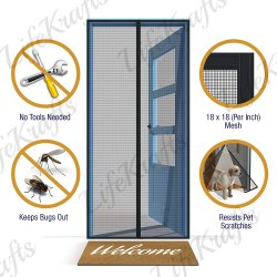 LifeKrafts Ready Made Mosquito Net for Main, Balcony and Kitchen Doors, Black