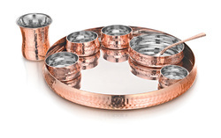 Round Copper Steel Bailey Thali Set, For Hotel