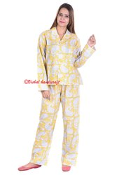 Hand Block Print Ladies Pyjama Set Yellow