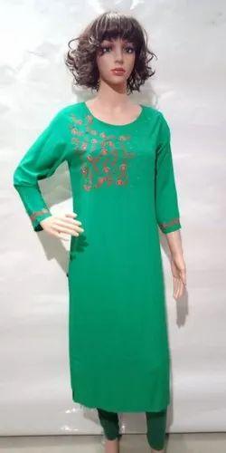 Green Embroidered Ladies Kurti