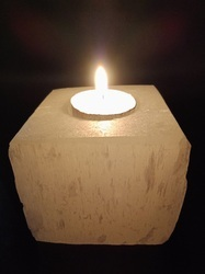 Square Selenite Candle Holder