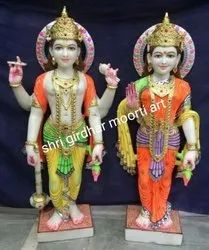 Indian God Vishnu Laxmi Marble Statue