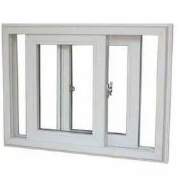 White Rectangular UPVC Double Glazed Sliding Window, Thickness Of Glass: 5 mm