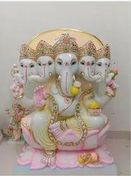 Marble Panch Mukhi Ganesha Statue